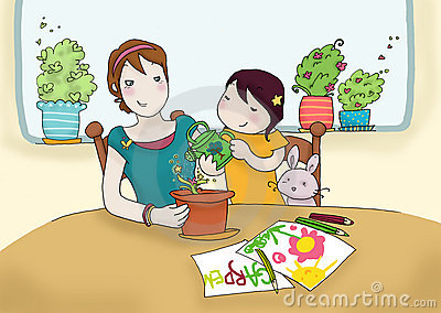 Watering plant together