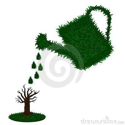 Watering tree with green grass watering can