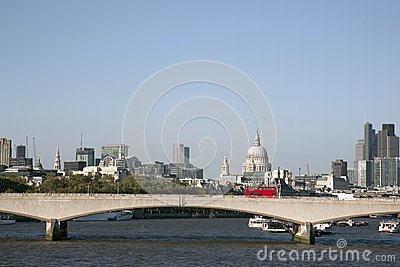 Waterloo Bridge with St Pauls Cathedral Church, London