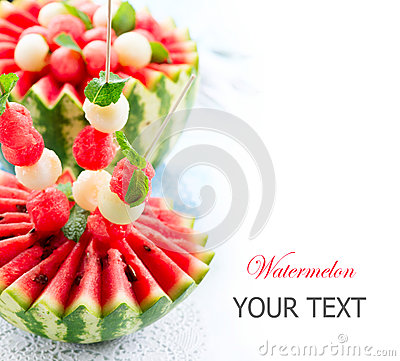Free Watermelon And Melon Balls Stock Photography - 32873222