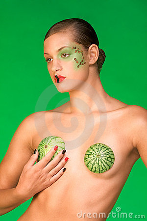 Watermelon beauty woman exotic bra and make up