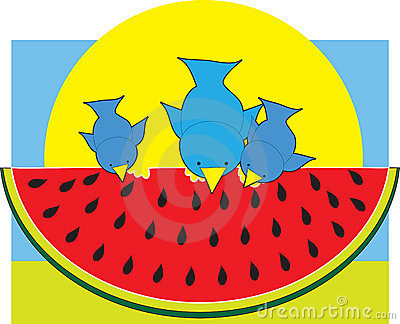 Watermelon Blue Birds