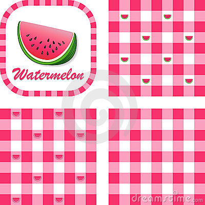 Watermelon & Gingham Seamless Patterns