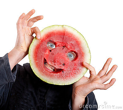Watermelon mask and human eyes for helloween