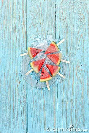 Free Watermelon Popsicle Yummy Fresh Summer Fruit Sweet Dessert Wood Teak Royalty Free Stock Photo - 52376915