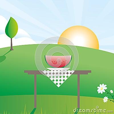 Watermelon summer scene