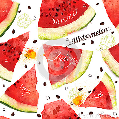 Free Watermelon Vector Seamles Watercolor Pattern Royalty Free Stock Images - 43511289