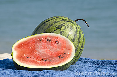 Watermelons on a beach