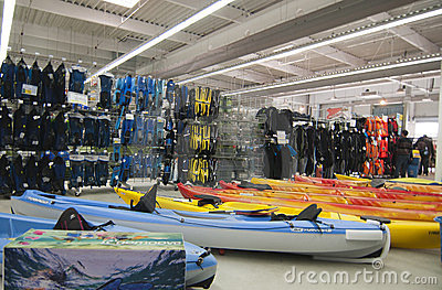 Watersports area in Decathlon store Editorial Photo