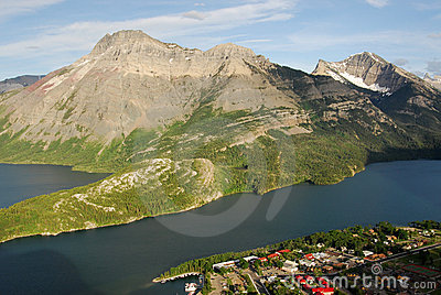 Waterton village and lake