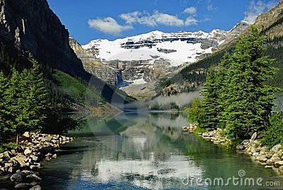 Waterway to lake Louise.