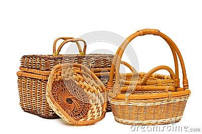 Wattled basket isolated over white