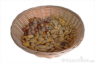 Wattled basket with nuts