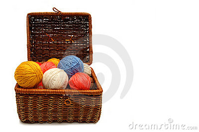 Wattled box with colour balls of wool