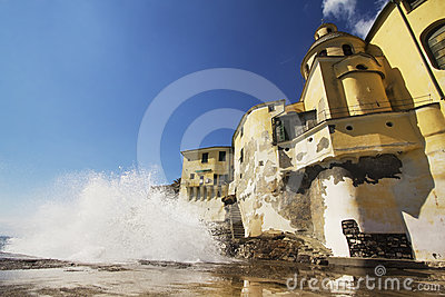 Wave crashing on Camogli church