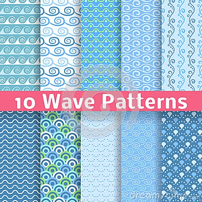 Free Wave Different Seamless Patterns (tiling). Vector Royalty Free Stock Photo - 34631615
