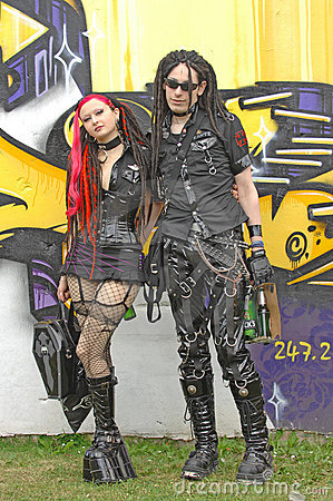Wave gothic boy and girl at goth-event 2009 Editorial Image