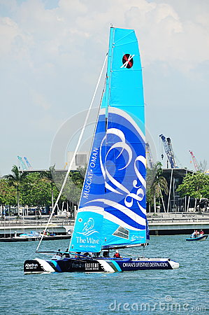 The Wave, Muscat, practising at Extreme Sailing Series Singapore 2013 Editorial Photo