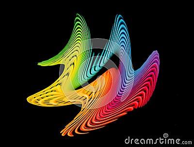 Wave pattern swirls over black - rainbow colors