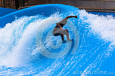 Wave Pool Action Surfer  Editorial Photography