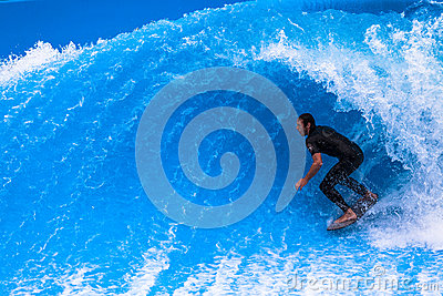 Wave Pool Surfer Hollow Curl Editorial Photo