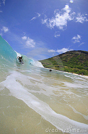Wave Riding Boogieboarder at Sandy Beach, Hawaii