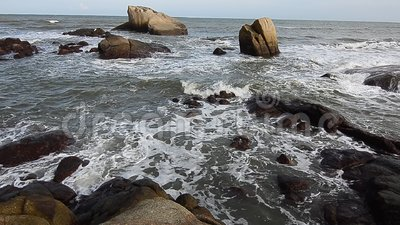 Wave and the stone stock footage