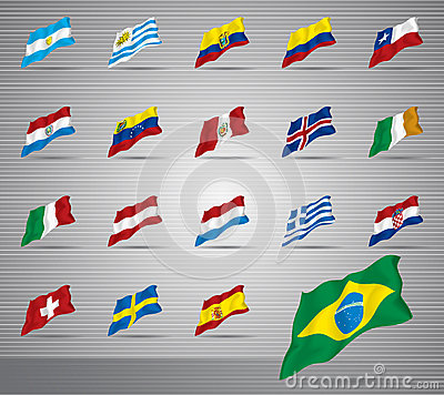 Waved national flags