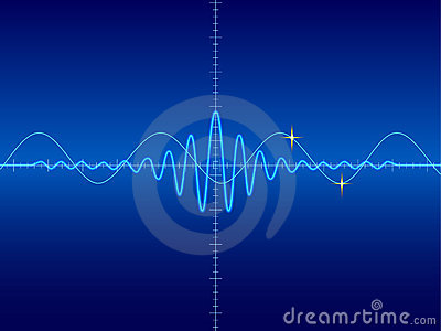 Waveform in blue background
