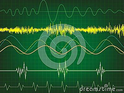 Waveform in green background