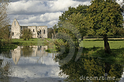 waverley abbey ruins river wey england