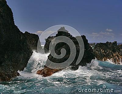 Waves breaking rocks