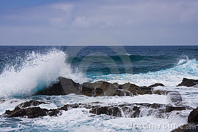 Waves breaking at the rocky coast of La Palma