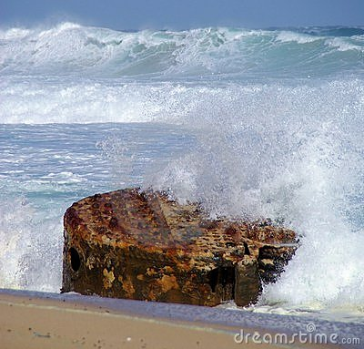 Waves Crashing Against Wreck