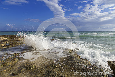 Waves crashing along the rocky shore