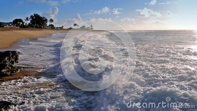 Waves crashing on Sandy beach with an udidentified people on Oahu, Hawaii stock footage