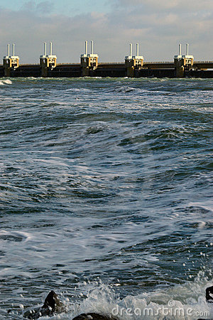 Waves crushing on the Dutch coast
