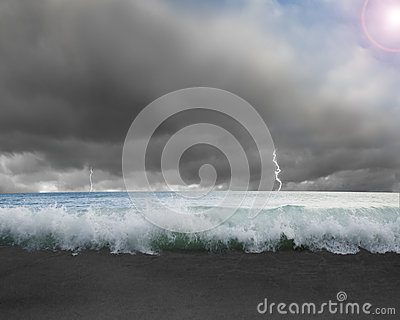 Waves flooded with dramatic weather, lightning, sky and sun ligh
