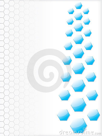 Waves and hexagons background design