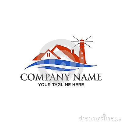 Free Waves Logo And Beach House Real Estate, Construction Stock Photo - 104759160