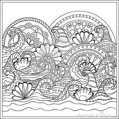 Waves With Mandalas Stock Vector