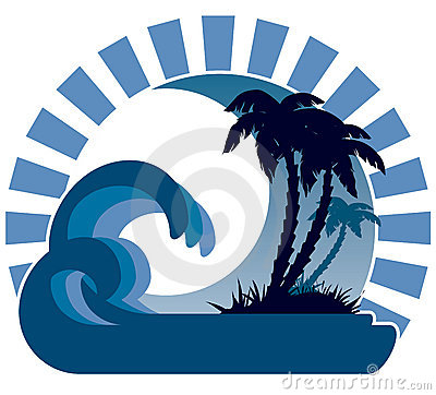 Free Waves, Moon,  Tropical Island Royalty Free Stock Photos - 5199908