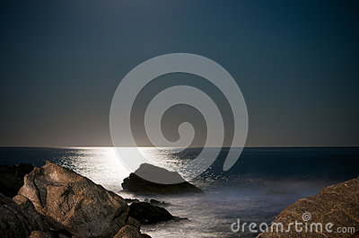Waves and moonlight