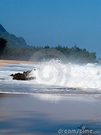 Waves over rocks on Lumahai