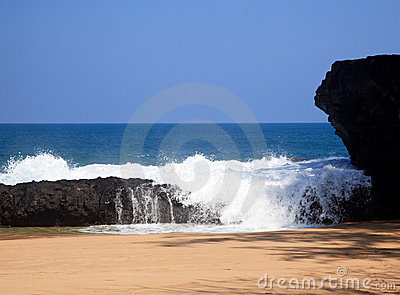 Waves Over Rocks On Lumahai Stock Image - Image: 13119861