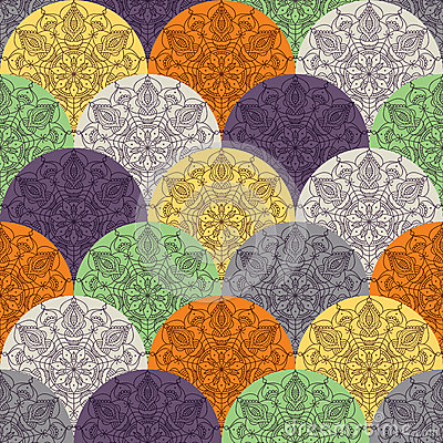 Free Waves Pattern With Circular Ornaments Stock Photography - 56403532