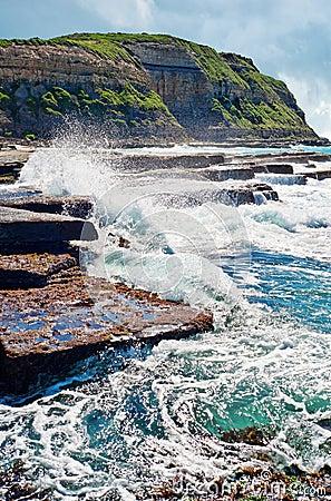 Waves on rocks at the coast