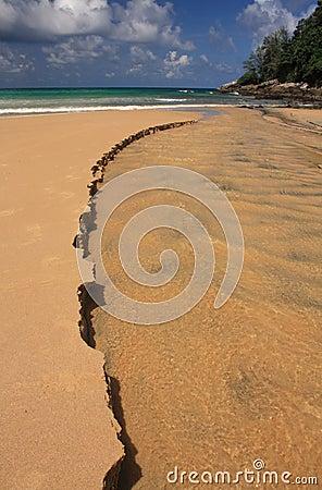 Waves on the sandy beach