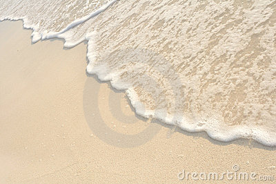 Waves on Shore of White Sand Beach
