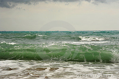 Waves before storm on the sea